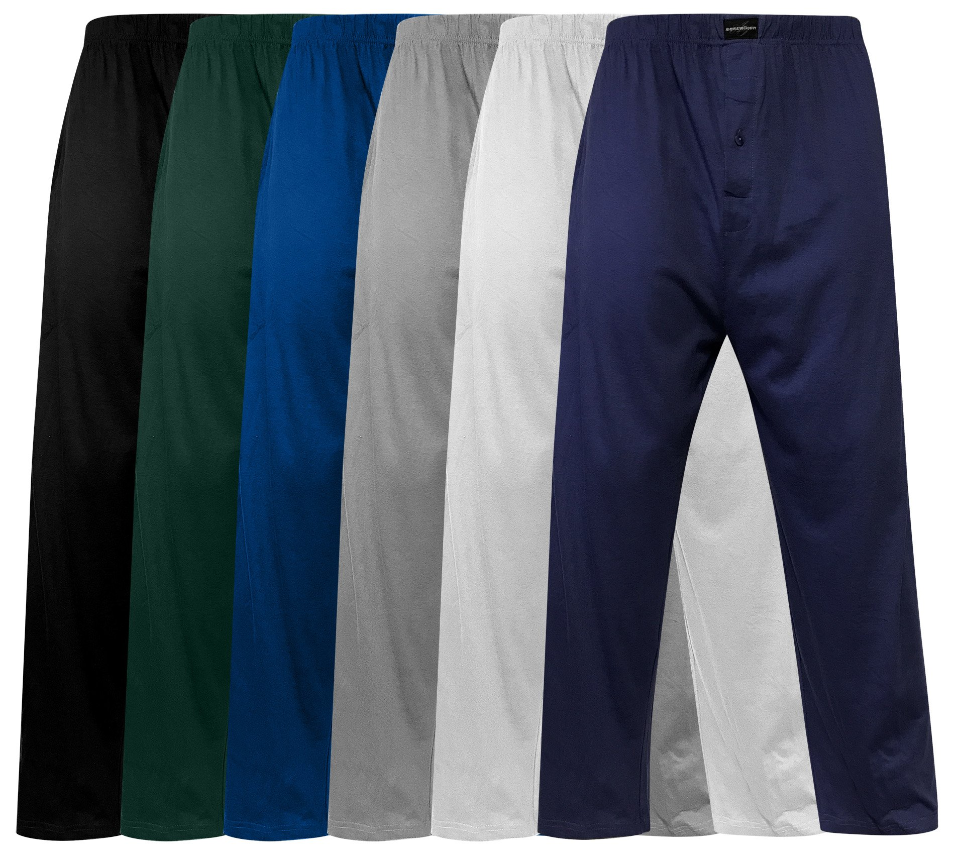 Andrew Scott Men's Pack of 6 Lightweight 100% Cotton Yoga Lounge & Sleep Pant (MEDIUM, 6 Pack-Assorted Color)