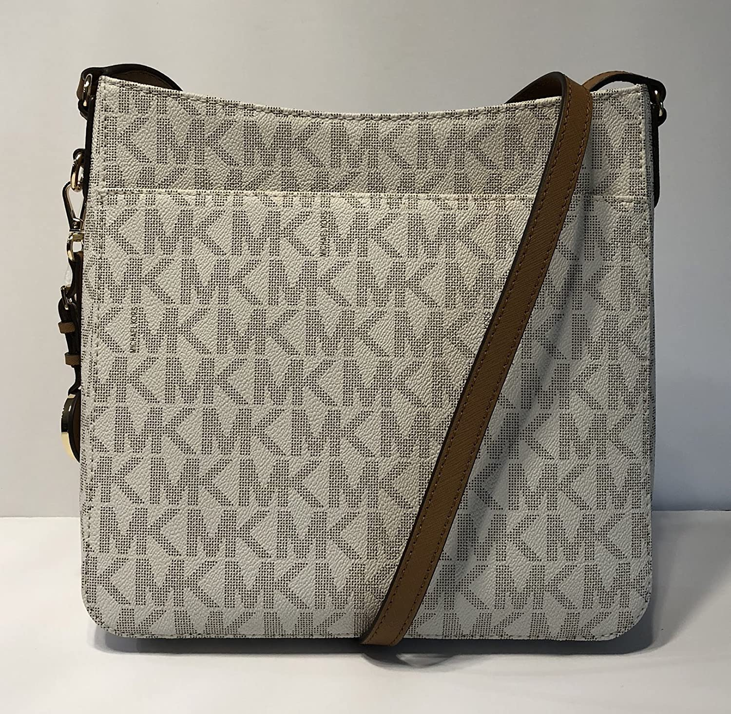 6c459303fe9c Amazon.com  MICHAEL Michael Kors Jet Set Travel Large Messenger Crossbody  Signature MK Vanilla Acorn  Shoes