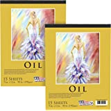 """U.S. Art Supply 9"""" x 12"""" Premium Heavy-Weight Oil Painting Paper Pad, 90 Pound (190gsm), Pad of 15-Sheets (Pack of 2 Pads)"""