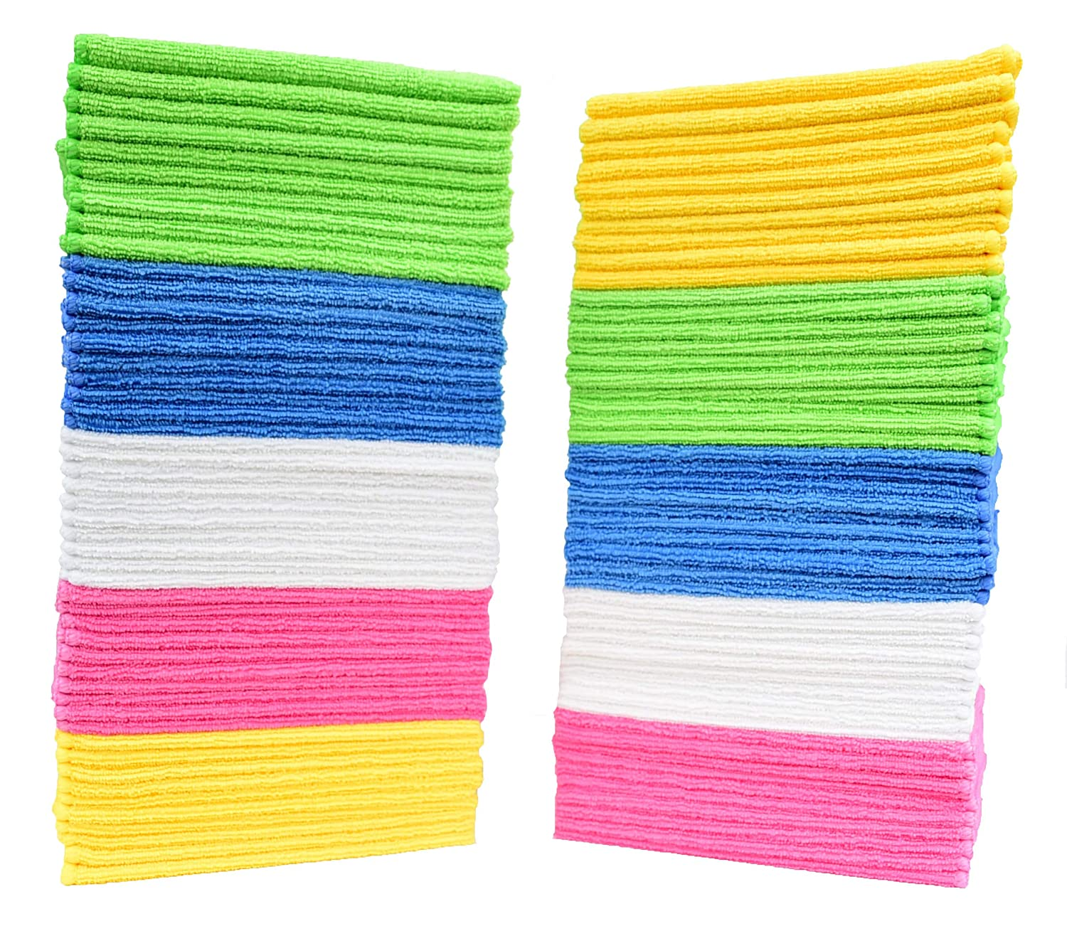 Simpli-Magic 79130 Microfiber Cleaning Cloths (Pack of 50) Large Size Ideal for Home, Kitchen, Auto, Glass and Pets 5 Colors Included