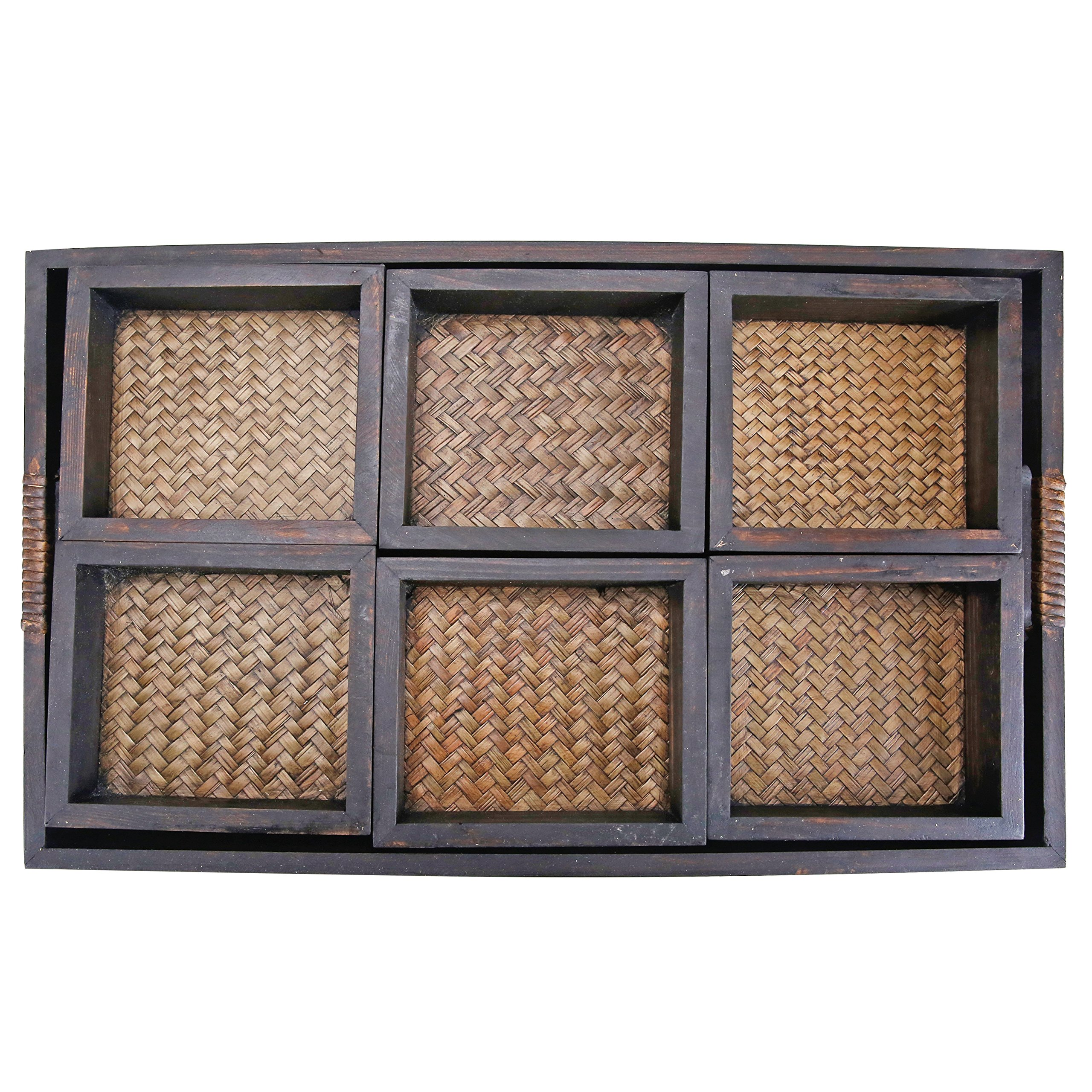 MyGift 7 Piece Flocked Nesting Mango Wood and Woven Rattan Jewelry Organizer Display Trays by MyGift (Image #4)