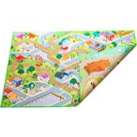 "Kids Double Sided Felt Play Mat - 2 in 1 Indoor/Outdoor, Machine Washable 59"" L x 39"" W… Save to Droplist Roll Over Image to Zoom in Kids Double Sided Felt Play Mat - (City/Farm)"