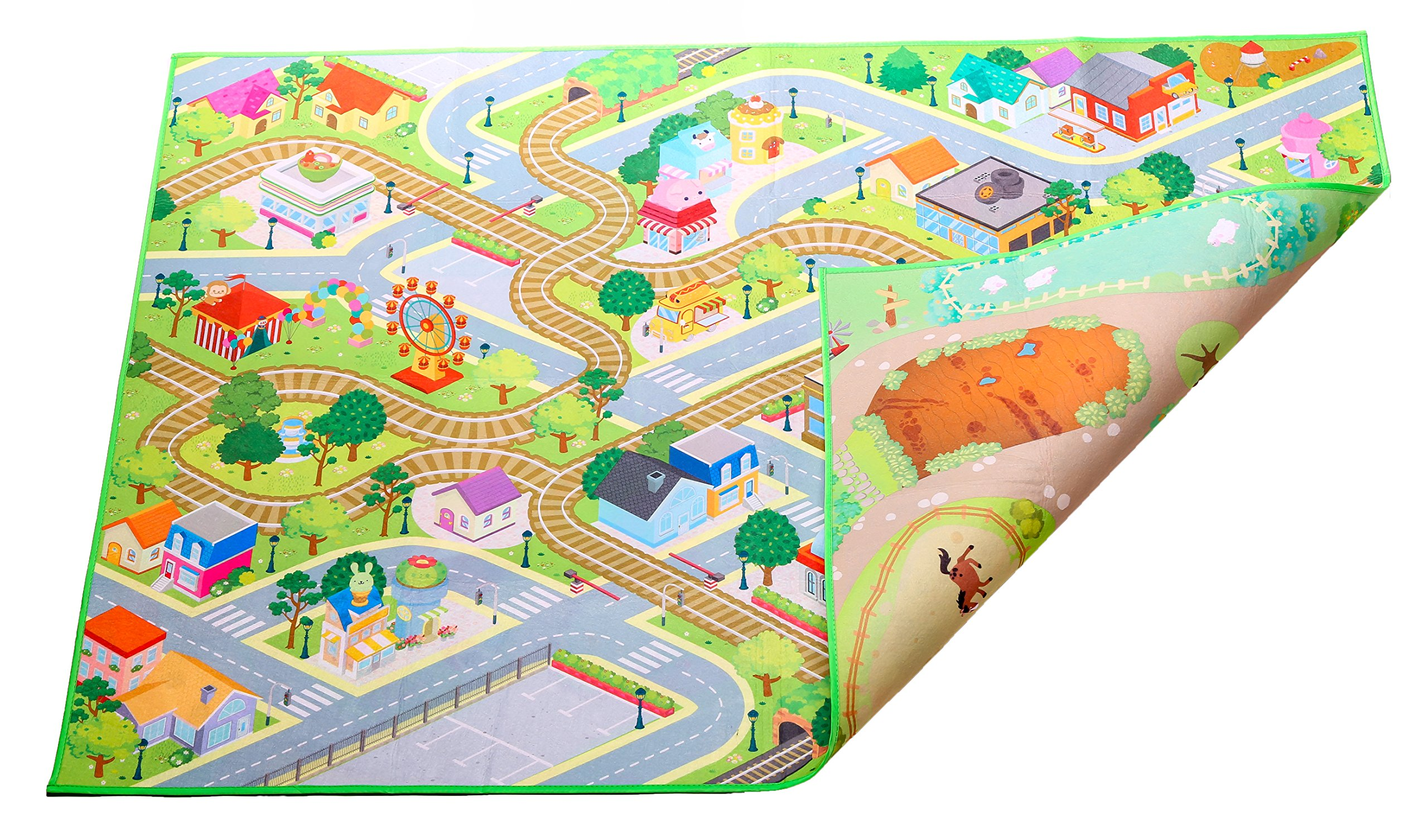 Kids Double Sided Felt Play Mat - 2 in 1 City & Farm, indoor/outdoor, machine washable 59'' L x 39'' W