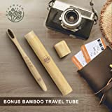 Greenzla Bamboo Toothbrush (4 Pack) With Travel