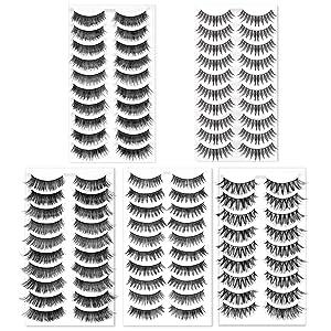 TingeShine 50 Pairs 5 Styles Natural False Eyelashes Set Soft Band Fiber Handmade Reusable Fluffy Demi Wispies Comfortable Fake Lashes 10 Pairs Eyes Lashes Each Style,Professional Eyelashes Pack