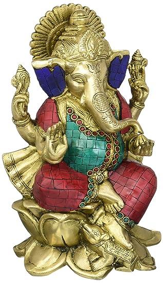 Amazoncom 10 Large Ganesh Statue Handmade Brass Ganesh Idol