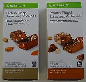 Herbalife 2 x proteína pestillos, 14 x 35 g – Almendra de vainilla sabor – 490 g, 14 cerrojo X 35 g – Chocolate de Cacahuete sabor – 490 g (Set de ...