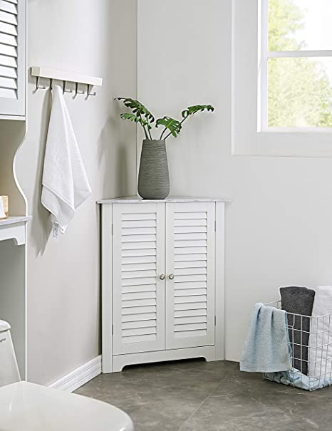 Kings Brand Furniture Decatur Bathroom Corner Floor Storage Cabinet White Kitchen Dining