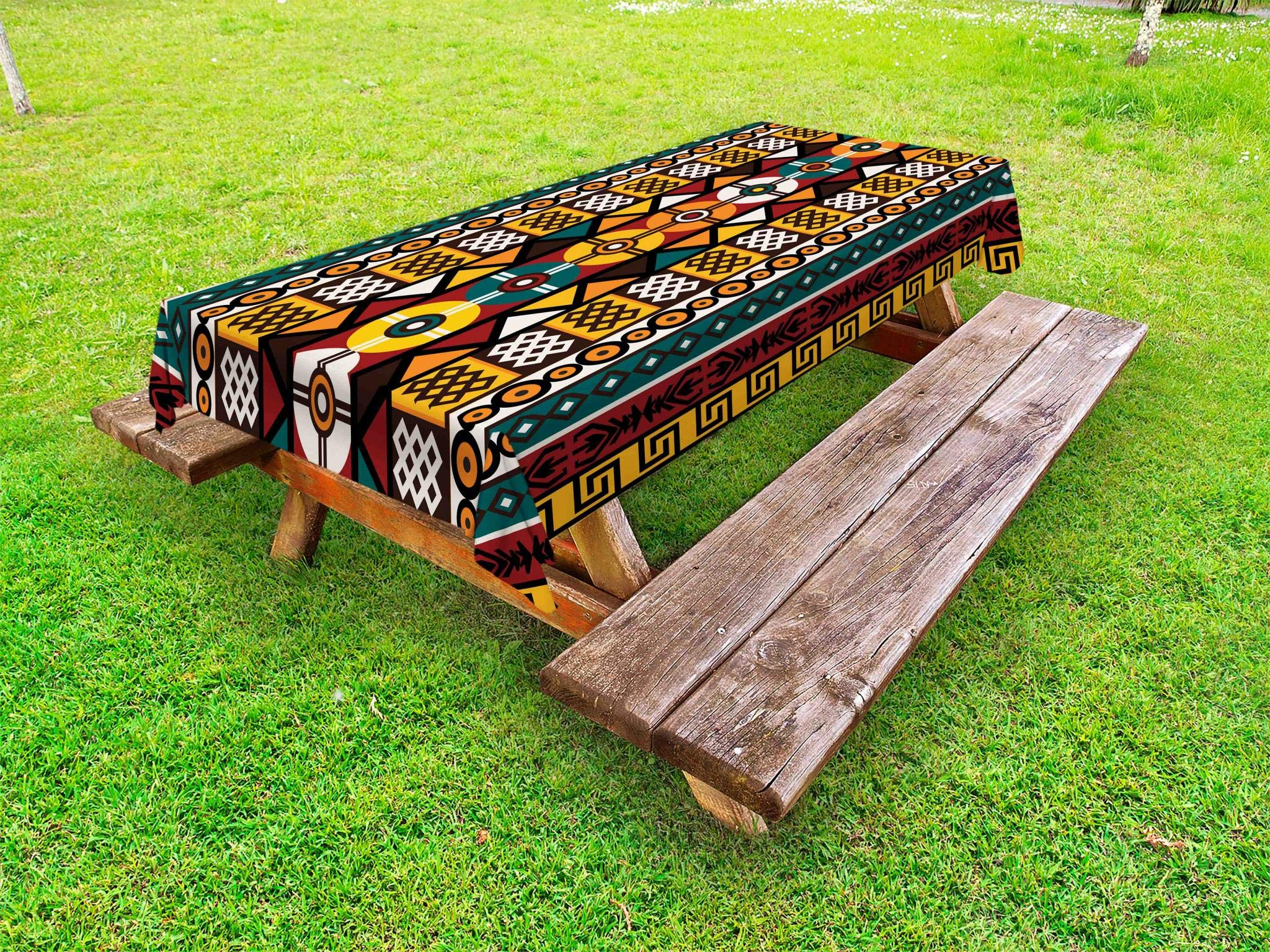 Ambesonne Kente Pattern Outdoor Tablecloth, Vertical Borders Inspired by Primitive African Cultures Geometrical Design, Decorative Washable Picnic Table Cloth, 58 X 84 Inches, Multicolor