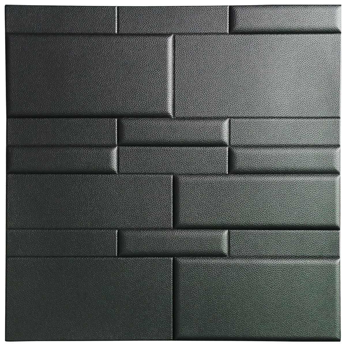 Art3d 3D Leather Tiles Decoartive 3D Wall Panels, Black Brick 24 x 24 (6 Pack) A12033P6