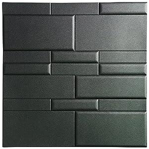 "Art3d 3D Leather Tiles Decoartive 3D Wall Panels, Black Brick 24"" x 24"" (6 Pack)"