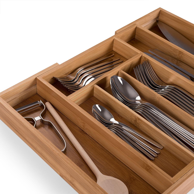 Blumtal Cuberteros de cajones bamb/ú Organizadores Cubiertos y cajones de Cocina con Compartimentos Ajustables Grande
