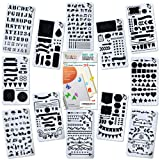 Journal Stencil Set for Bullet Planning Painting Drawing - 12 PCS Plastic Stencils for Taking Notes in Albums Notebooks Diaries Journals - Planner Stamps Set for Kids Adults Template 4x7 Inch A5 (Color: White, Tamaño: 8.70