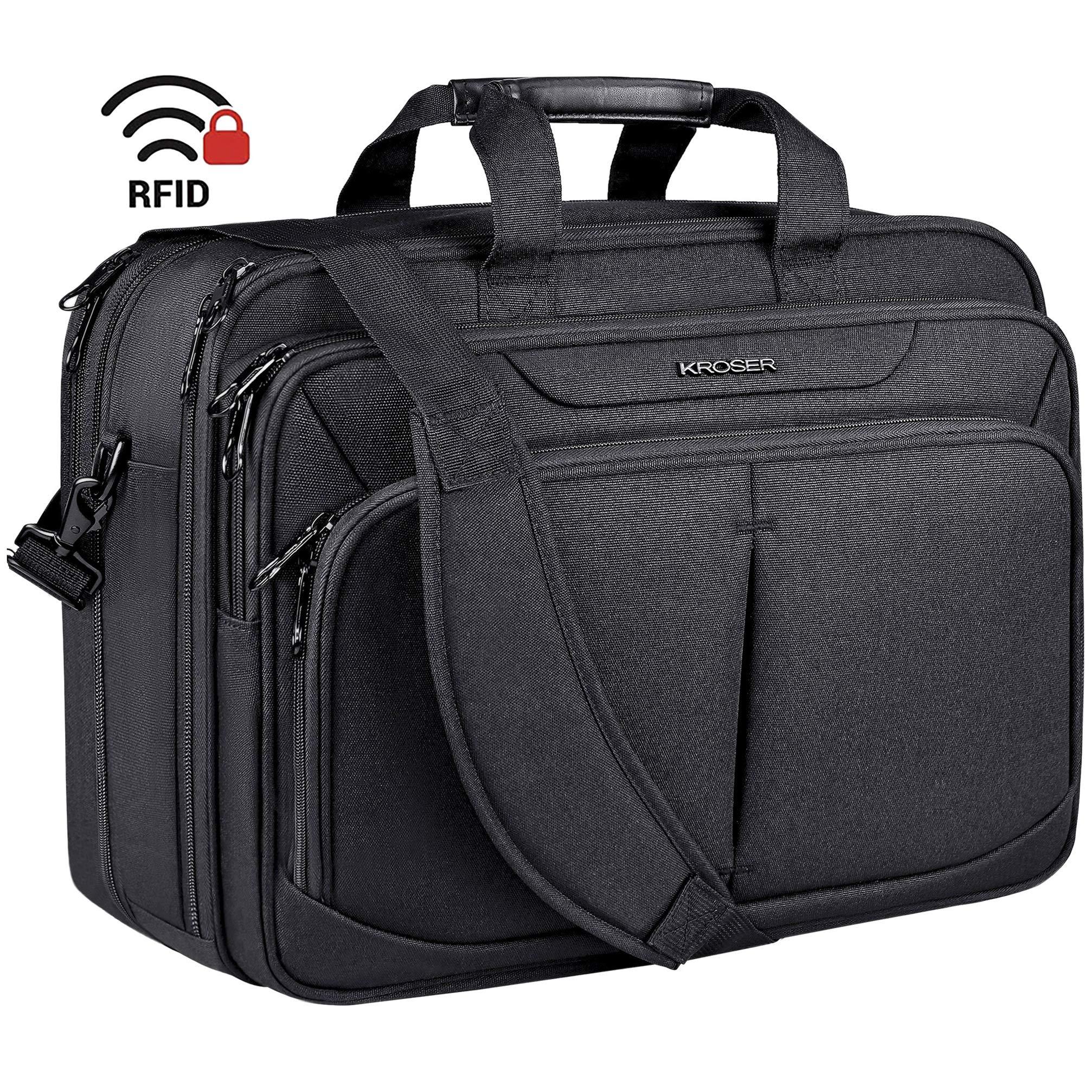 KROSER Laptop Bag 17.1'' Upgraded Expandable Lightweight Briefcase for 15.6''-17'' Laptop Premium Business Work Bag Water-Repellent Messenger Bag with RFID Pockets for School/Travel/Women/Men-Black by KROSER