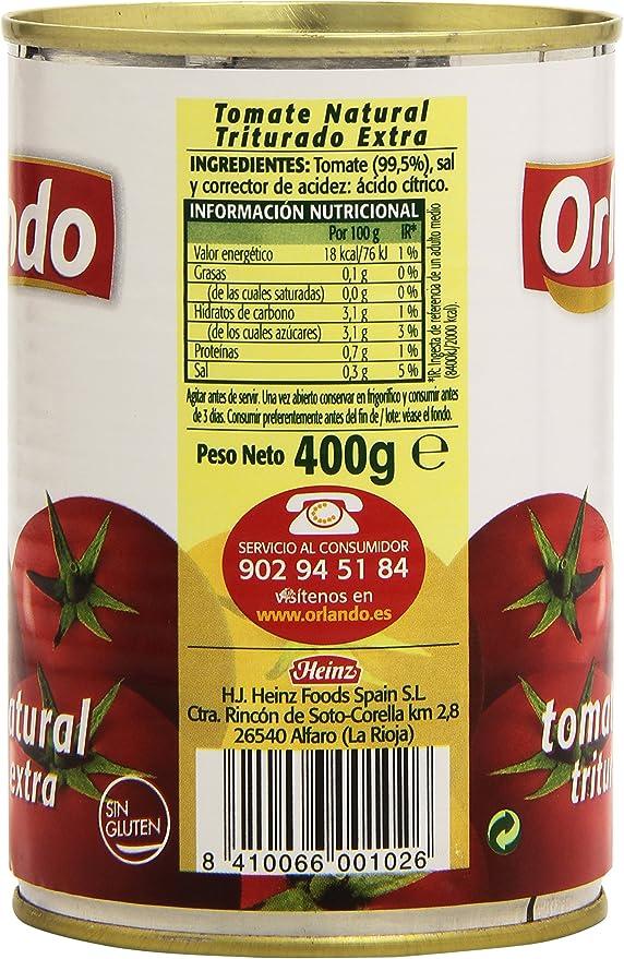 Orlando Tomate Natural Triturado - 400 g: Amazon.es ...
