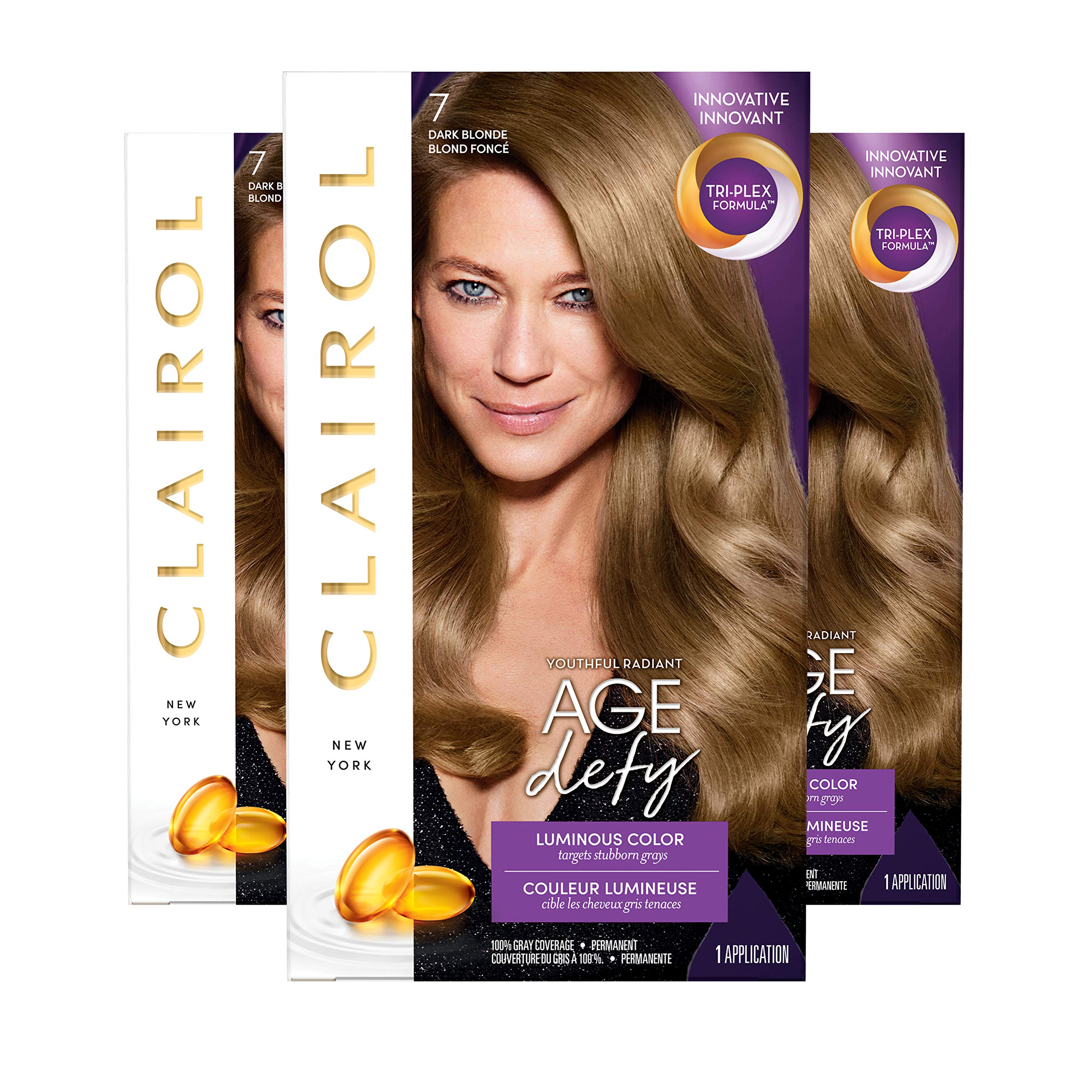 Clairol Age Defy Expert Collection, 7 Dark Blonde, Permanent Hair Color, 3 Count by Clairol
