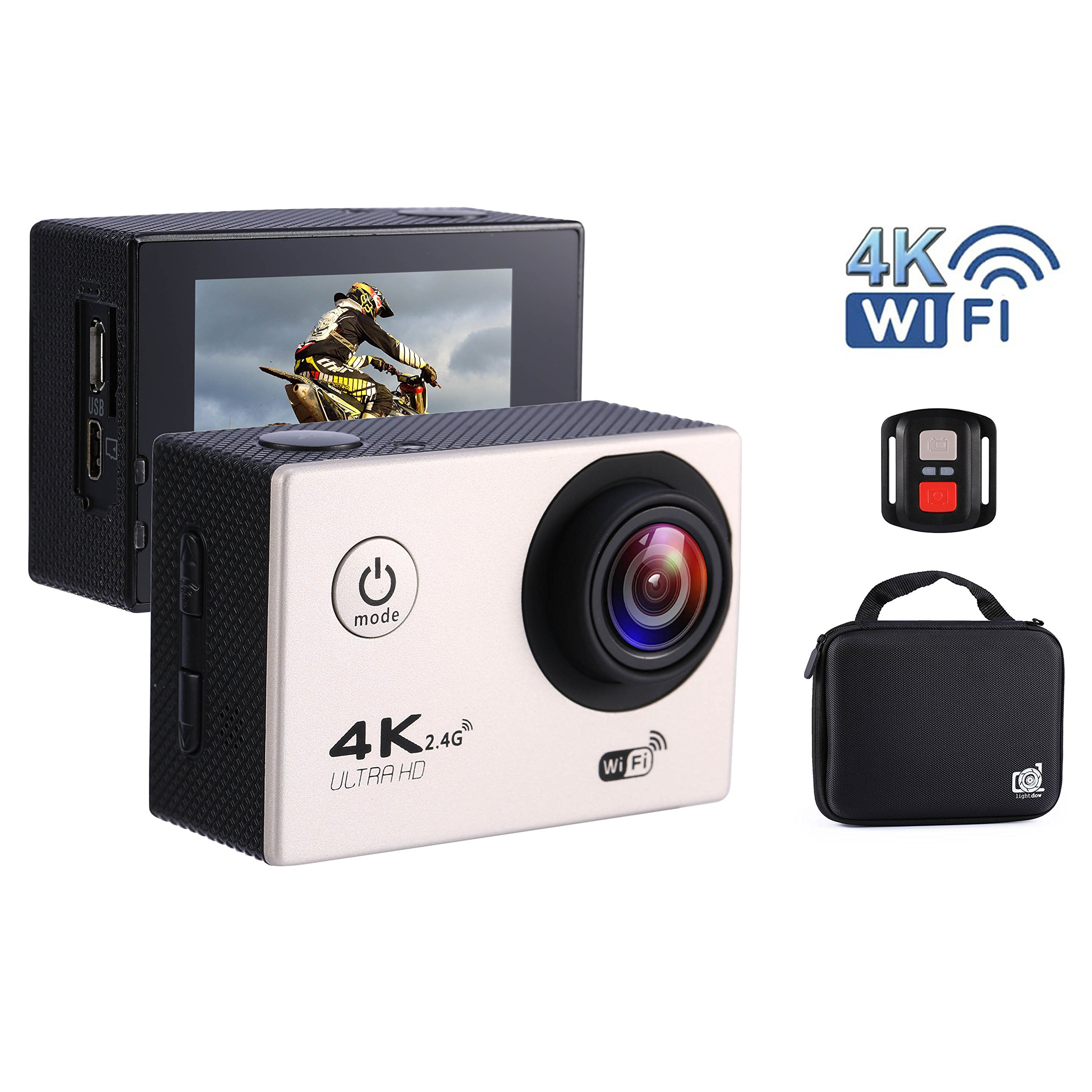 Sport Action WIFI Caméra 4K 1080P Ultra HD Sous-Marine 30m Imperméable, Caméra Angle 70 ° -170 °, Ecran LCD 2.0 \