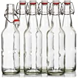 Finedine Swing Top Glass Beer Bottles 16 oz, with Zinc-Plated Steel Wire and Sealed Cap - High Grade Thick Durable Grolsch Bottles - For Brewing Beer Kombucha Kefir - Set of 6 … (Clear)