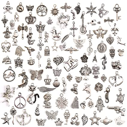 Amazon keyzone wholesale 100 pieces mixed charms pendants diy keyzone wholesale 100 pieces mixed charms pendants diy for jewelry making and crafting mozeypictures Gallery