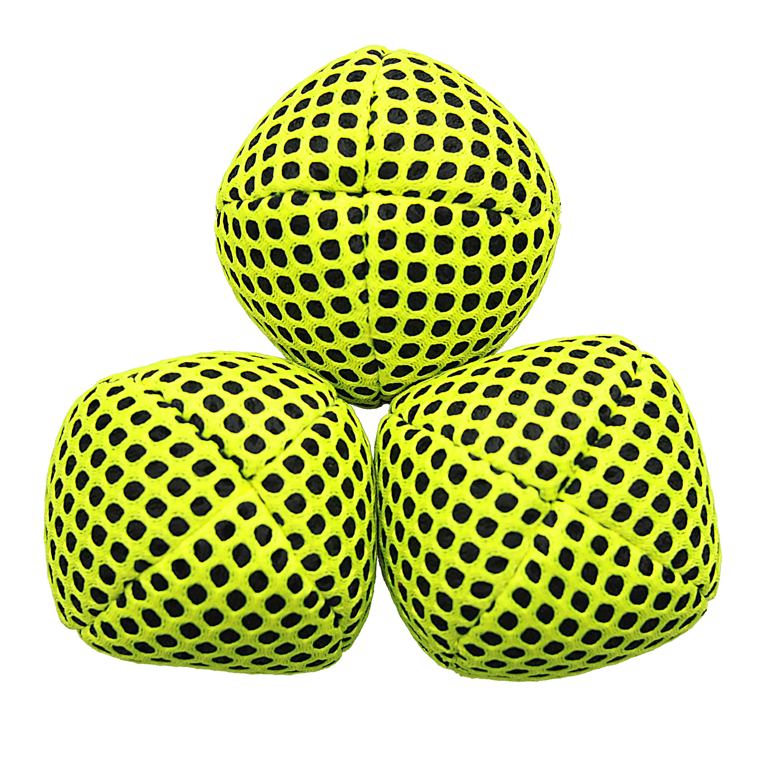 Speevers Juggling Balls for Beginners and Professional, 2019 XBalls Set of 3 Fresh Design - 5 Beautiful Uni Colors Available, 2 Layers of Net Carry Case, Choice of The World Champions 120g (Yellow)