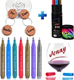 VACI Wine Glass Markers, Set of 7 Metallic Color Pens Drink Markers + 4 Motivational Wine Charms, Personalize your Drink, Washable Wine Accessories Gift