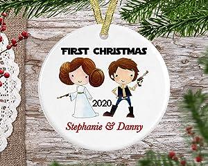 Lplpol Star Wars Christmas Ornament-Mr & Mrs Christmas Ornament-Our First Couple Christmas Ornament-Personalized Christmas Ornament-Married Christmas Ornament-Princess Leia Christmas Ornament