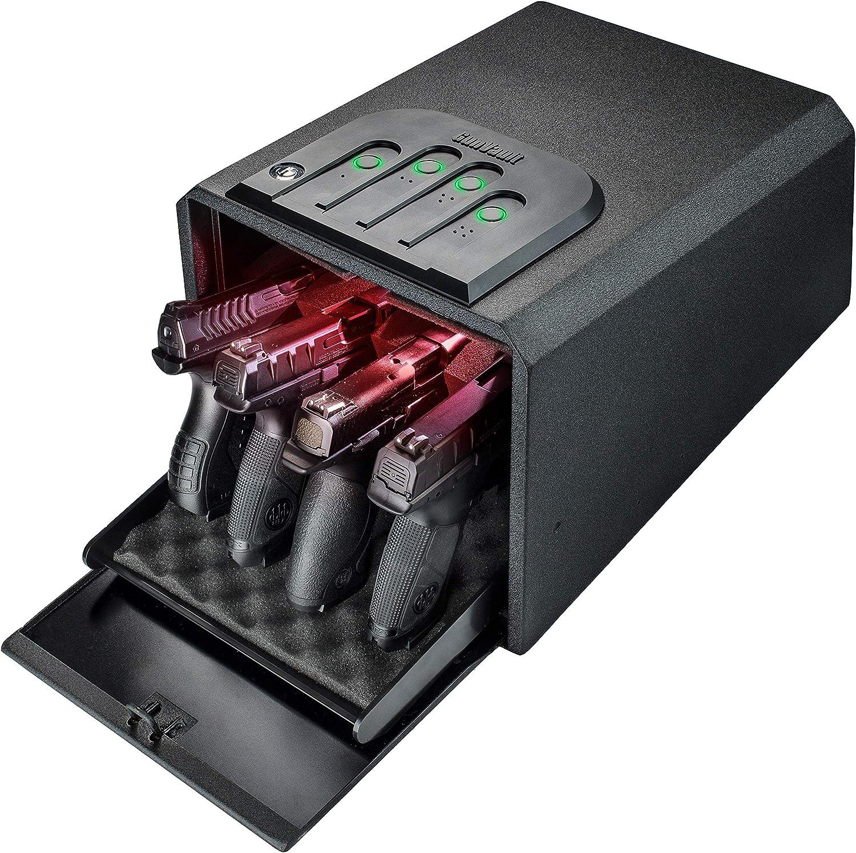GunVault MultiVault Quick Access Large Gun Safe with Illuminated No-Eyes Digital Keypad, Auto Slide-Out Drawer and LED Illumination (4 Pistol Capacity)