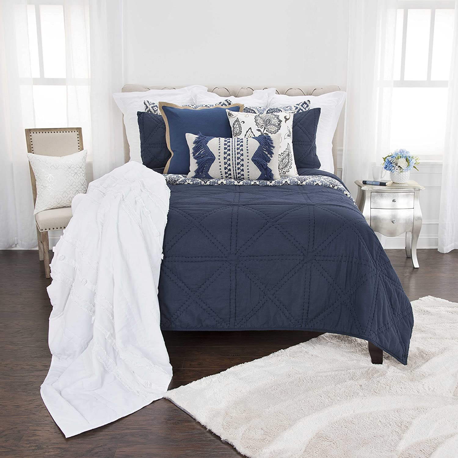 Rizzy Home Simpson White Maddux Place 3 Piece Quilt Set Queen