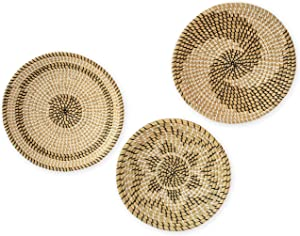 Artera Wicker Wall Basket Decor - Set of 3 Hanging Woven Seagrass Flat Baskets, Round Boho Wall Basket Decor for Living Room or Bedroom, Unique Wall Art (Set of 3-13