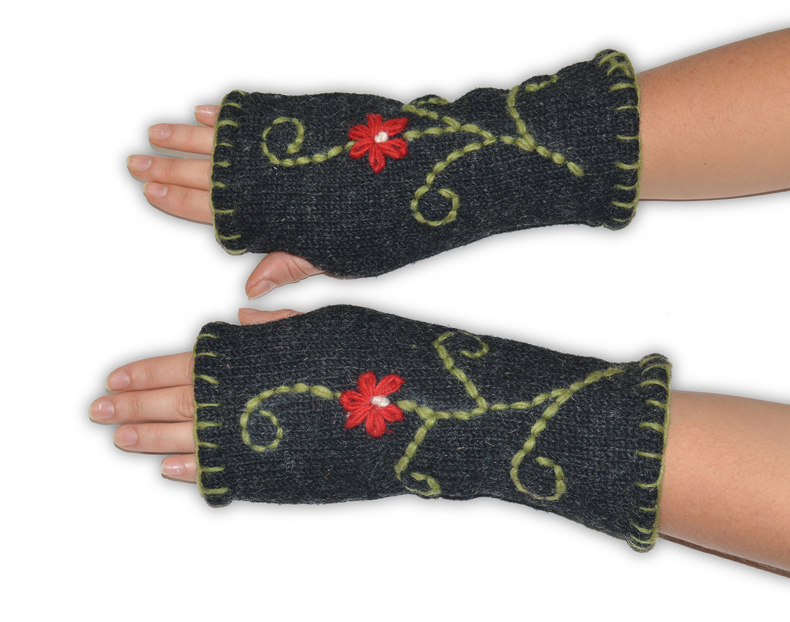 Invisible World Women's Knit Wool Fingerless Gloves Fleece-Lined Texting Flower
