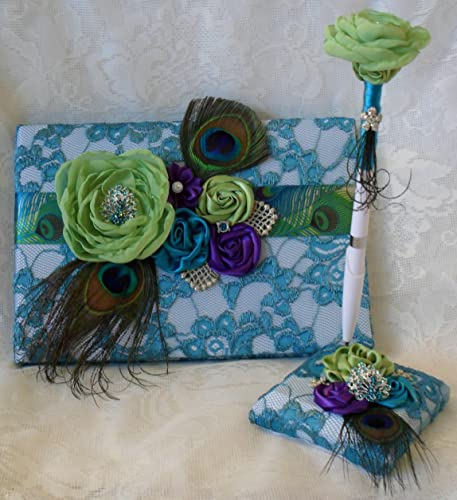 Amazon.com: Lime Green, Teal, and Purple Wedding Guest Book and Pen ...