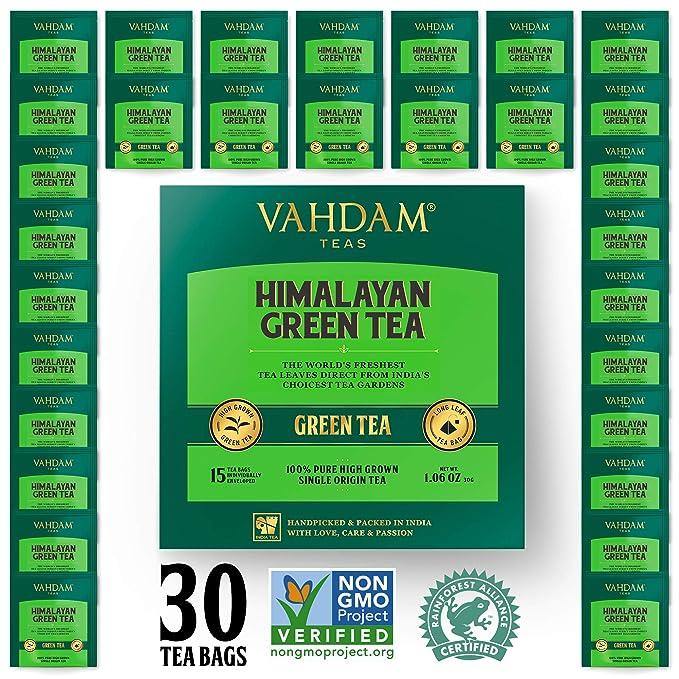 Hojas de té verde orgánico de Himalaya (30 bolsitas de té), té de