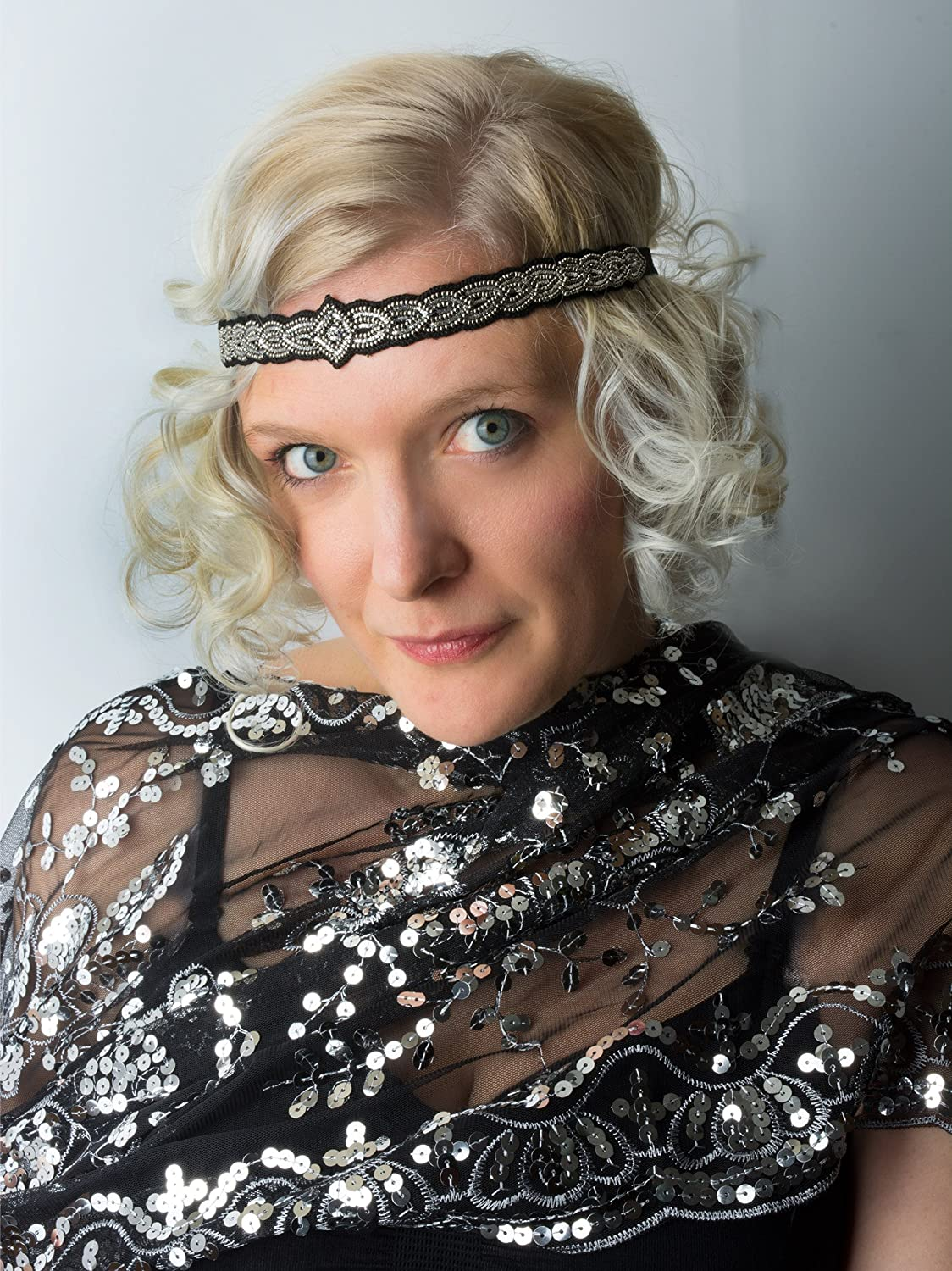 Silver Sparkly 1920s gatsby inspired beaded elastic headband $17.95 AT vintagedancer.com