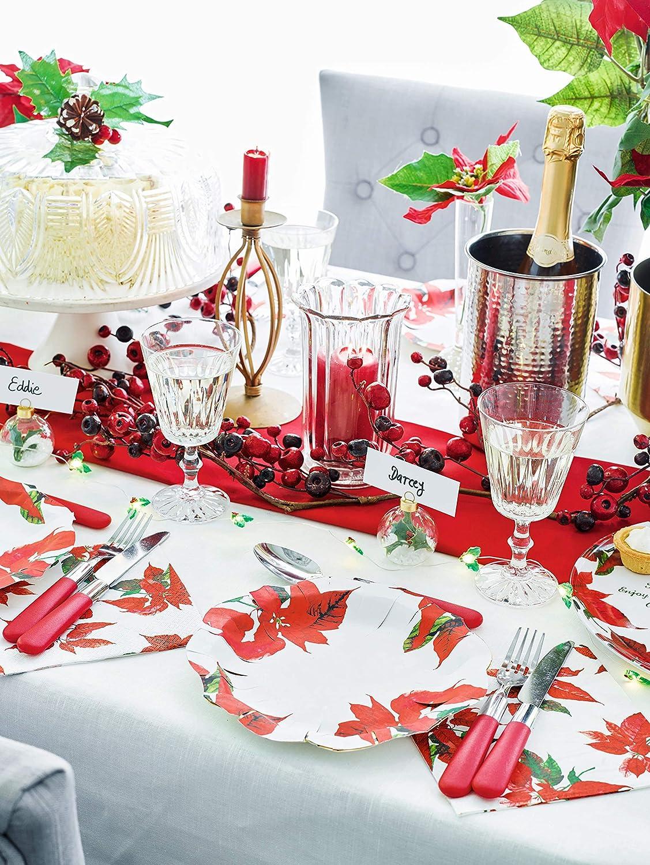Talking Tables Poinsettia Bot/ánico Platos de Papel para Cenas y Fiestas de Navidad Rojo y Blanco 12 Pack