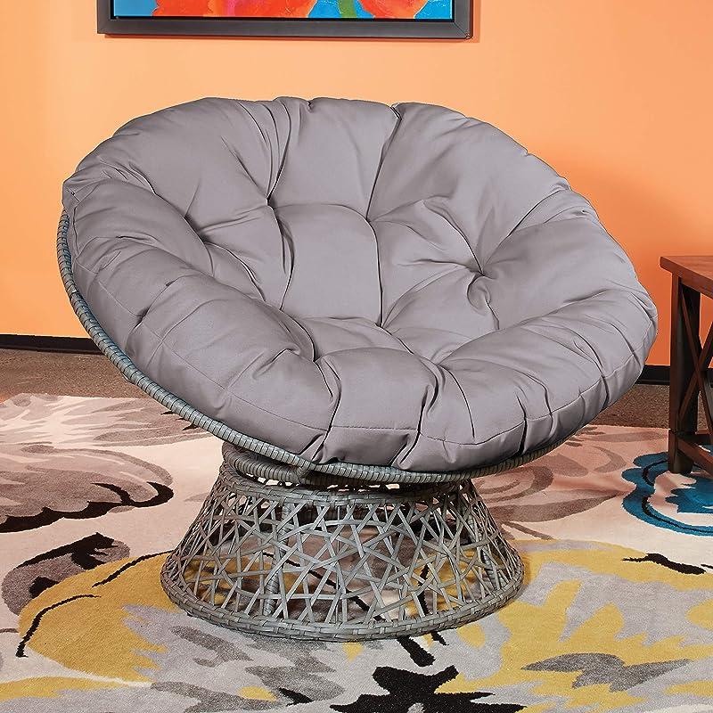 OSP Home Furnishings Papasan Chair with 360-degree Swivel, Grey Cushion Frame