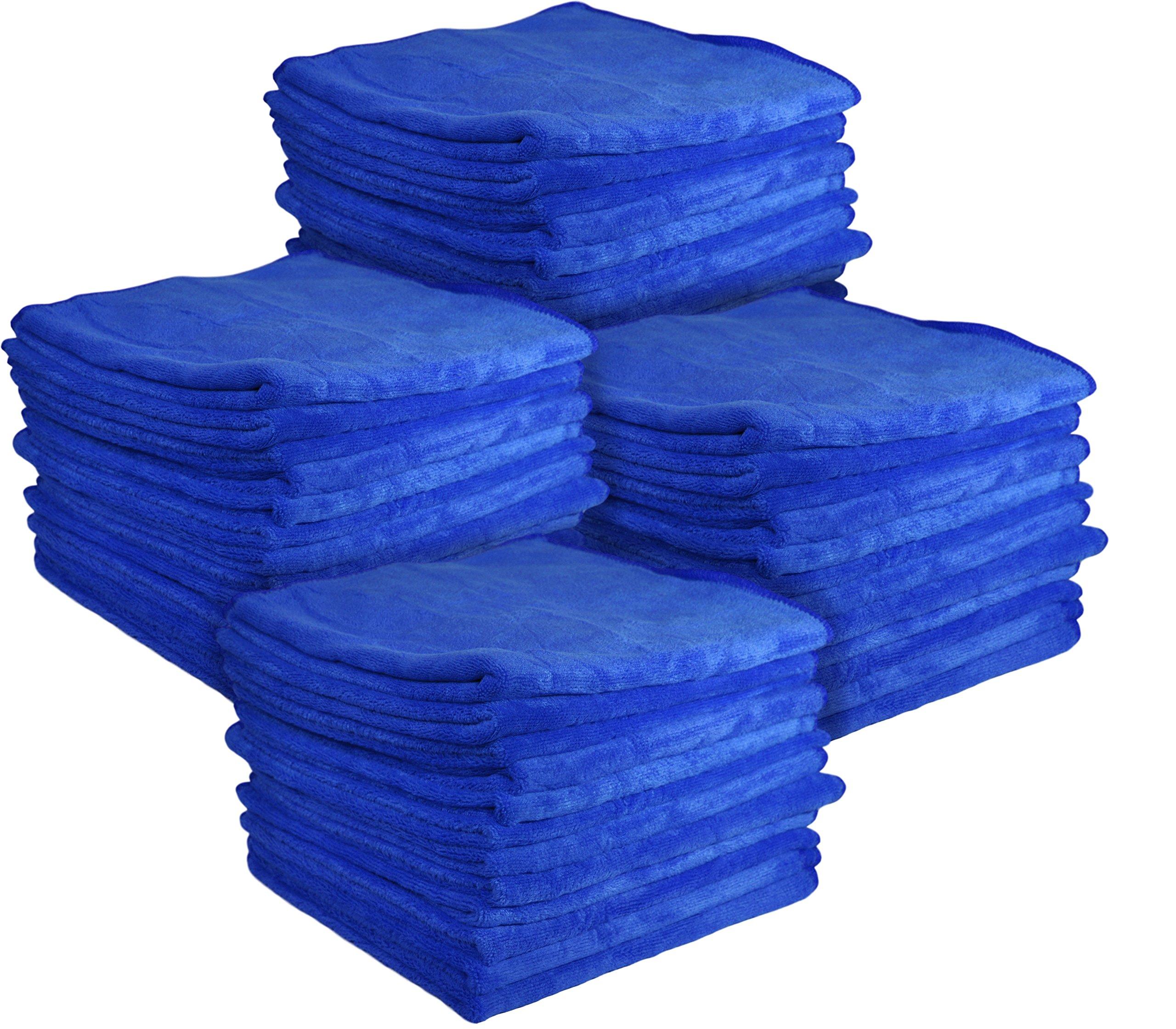 Detailer 365 UItraplush Premium Microfiber Towel - 16'' Square, 400GSM (48 Pack, Blue)