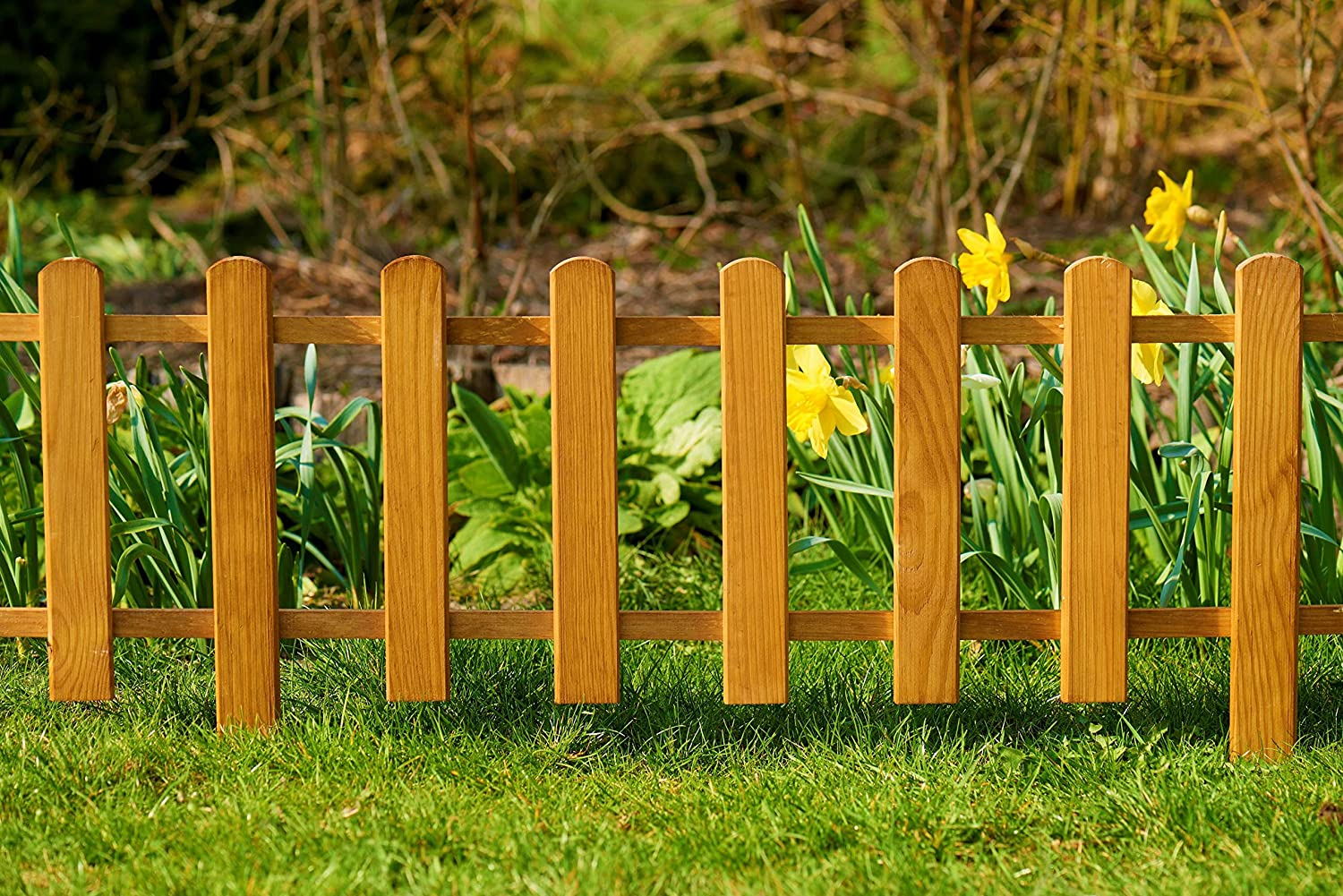 made from wood as a garden fence Set:Pack of 2 in 2 colors weather-resistant treatment 2x105 cm Floranica/® Picket Border Fence Color:natural height 30 cm