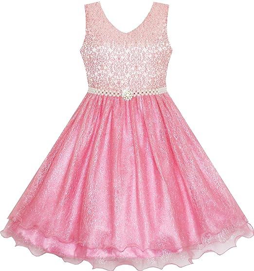 c2035cc9ec6 Sunny Fashion JE61 Flower Girl Dress Sparkling Pearl Belt Shrimp Pink  Wedding Bridesmaid Size 3