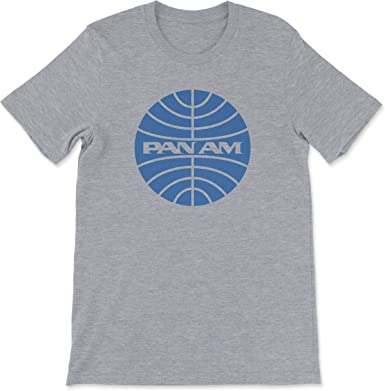 Pan Am Blue Logo Pan American World Airways  Airline Sport Gray Cotton T-Shirt