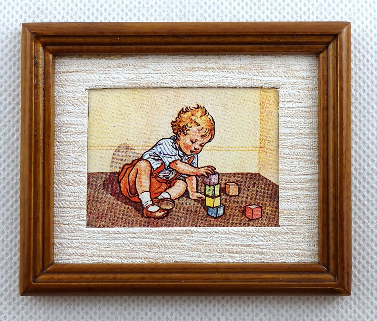 Melody Jane Dolls Houses Learning to Build Picture Painting Walnut Frame Miniature Accessory