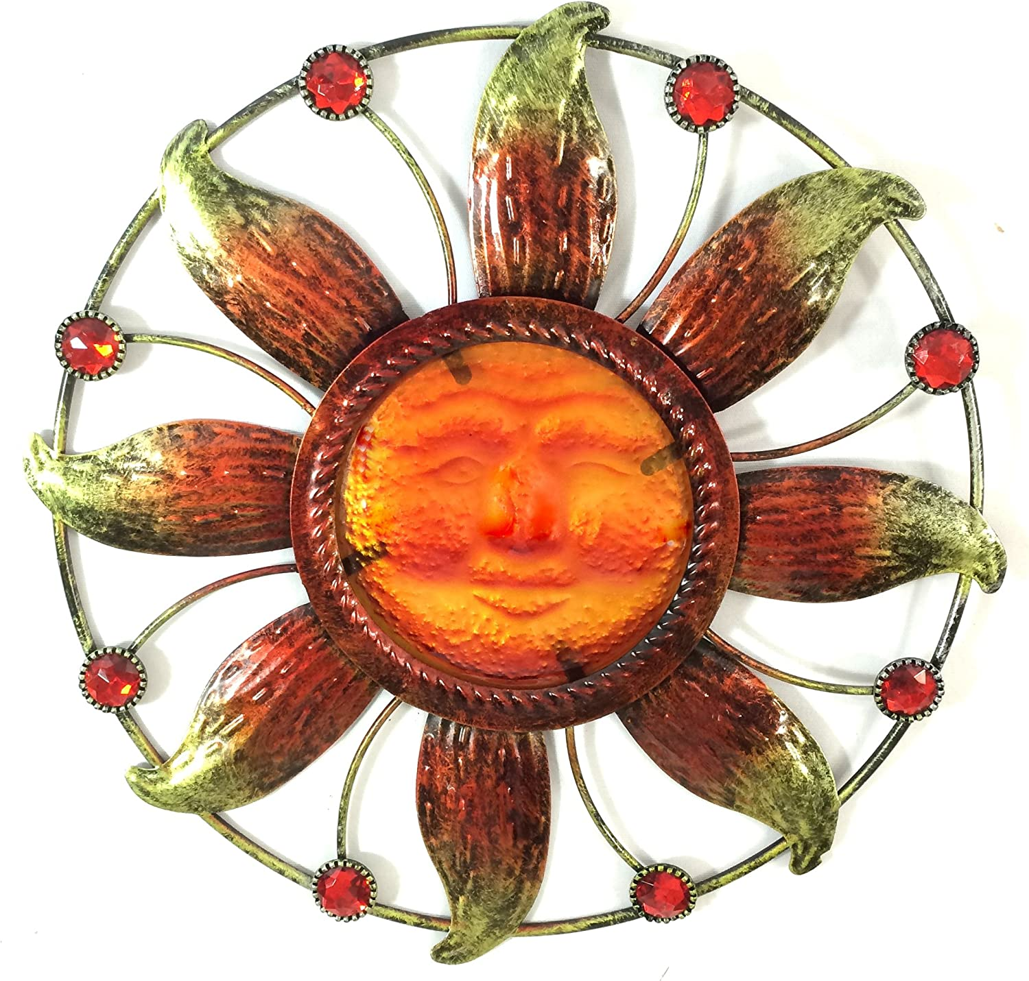 Bejeweled Display Sun Face w/ Stain Glass Wall Art Plaque Home Decoration