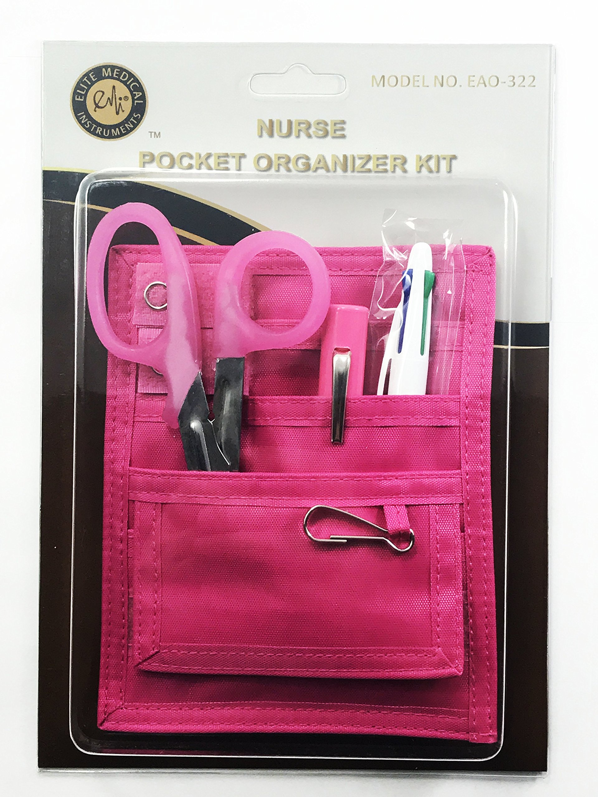 EMI Nurse Pocket PINK Organizer 4 Piece Kit with Pink Scissors 32101-Pink