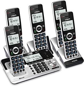 """VTech VS113-5 Extended Range 5 Handset Cordless Phone for Home with Call Blocking, Connect to Cell Bluetooth, 2"""" Backlit Screen, Big Buttons, and Answering System, Silver & Black"""