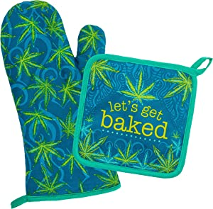 Wit Gifts Oven Mitt & Pot Holder, Weed
