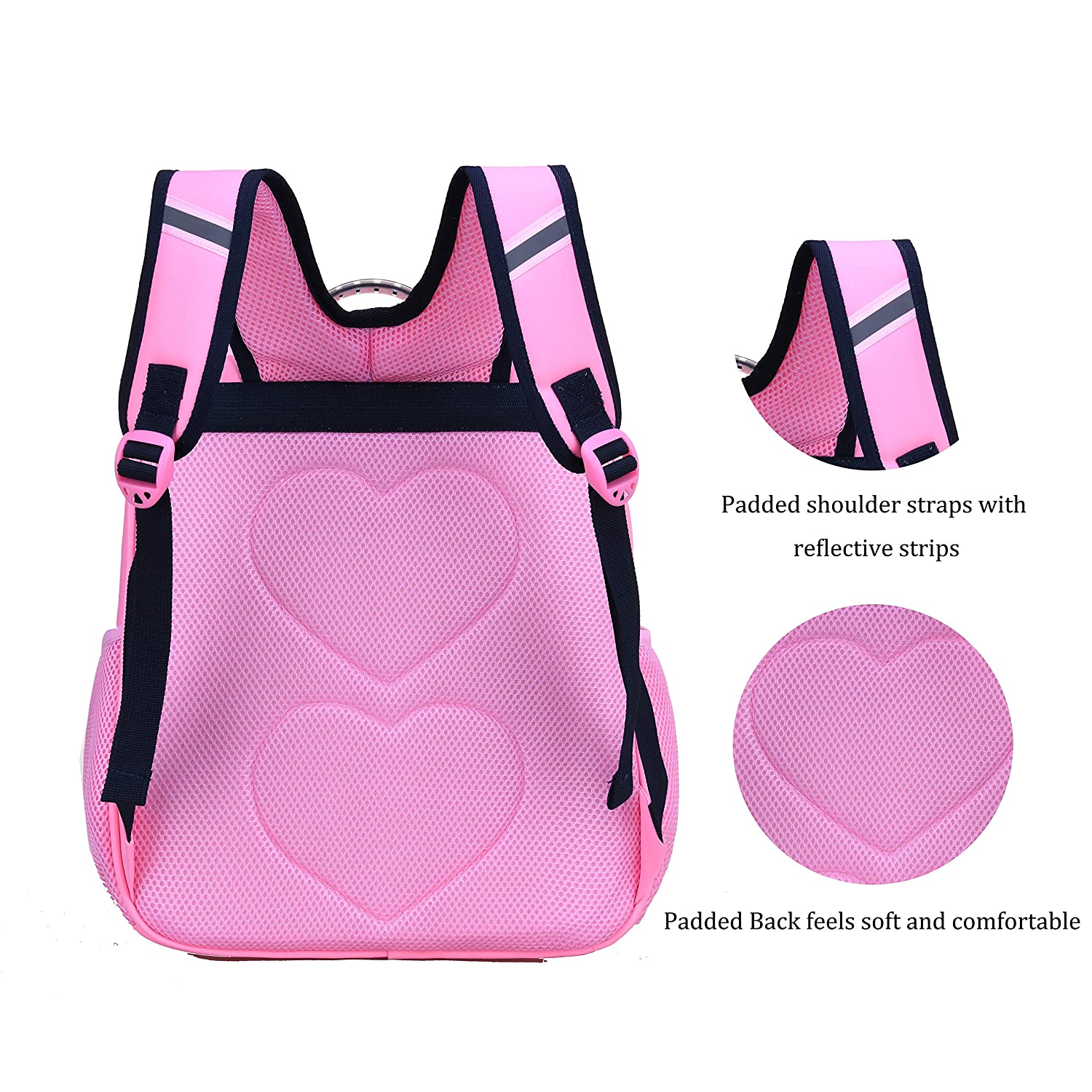 Pink School Bags For Girls, Large School Bags For Girls Wraifa Cute Bow Backpack for kids elementary Grade 1-6