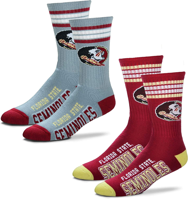 2-Pack For Bare Feet Mens NCAA -4 Stripe Deuce Crew Socks-Size Large and Medium
