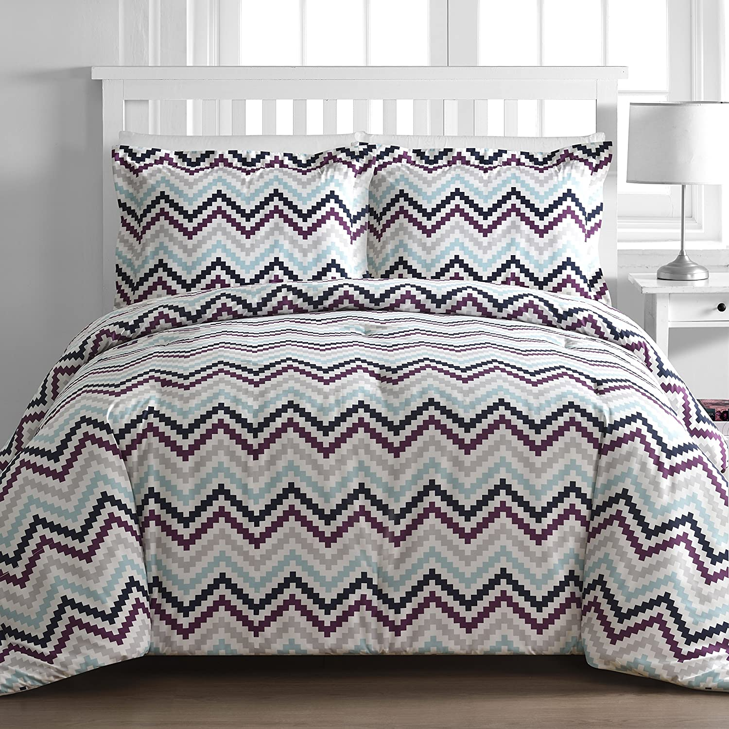 P&R Bedding 2 Piece Square Chevron Plum Multi Color Comforter Set