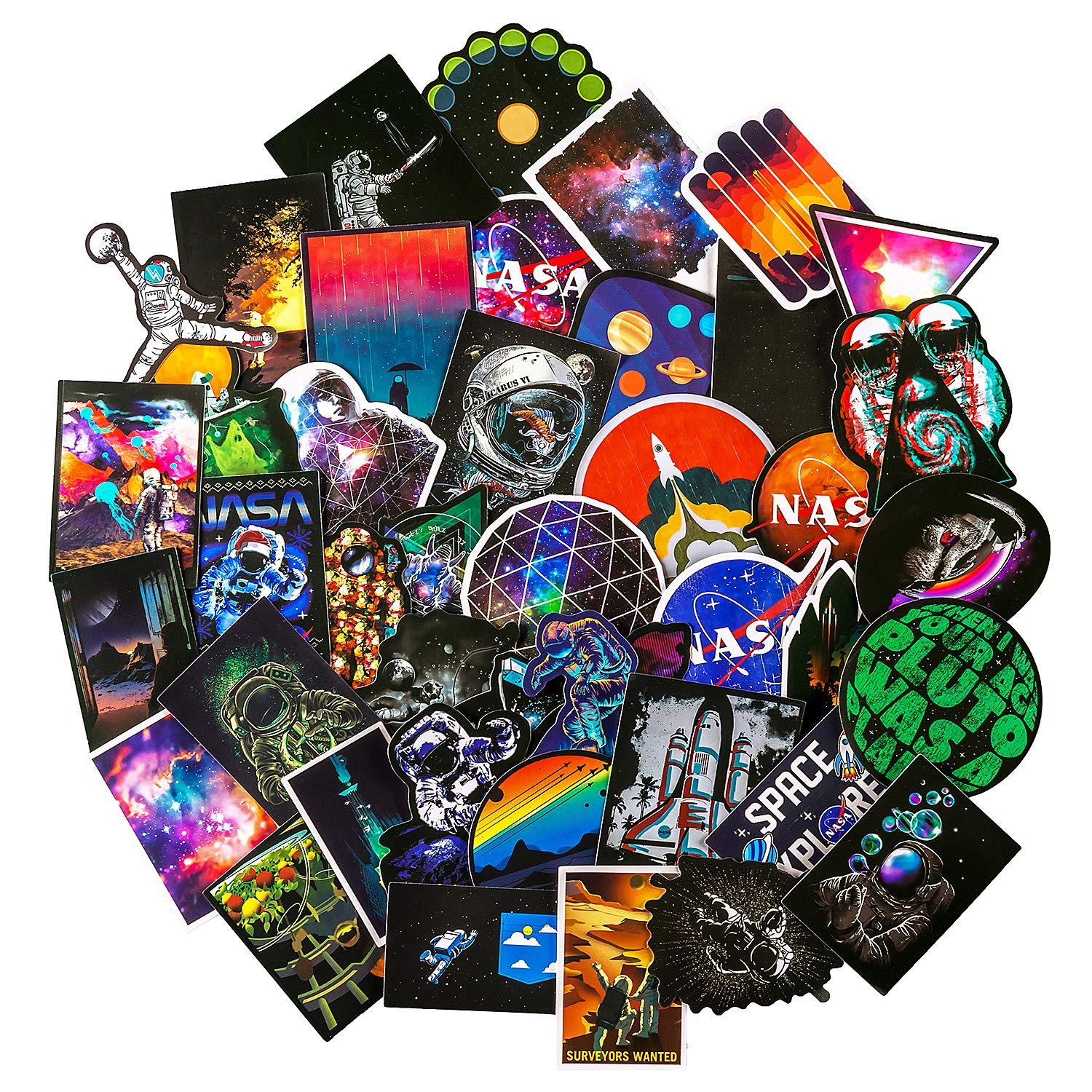 NASA Stickers for Laptop [100PCS], Space Explorer Galaxy Vinyl Decals for Water Bottle Hydro Flask MacBook Car Bike Bumper Skateboard Luggage, Spaceman Spacecraft Universe Planet Logo Graffiti Sticker