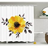 Flower Decor Shower Curtain by Ambesonne, Watercolored Image of Single Flower and Leaves Abstract Design Modern Art, Fabric Bathroom Decor Set with Hooks, 70 Inches, Yellow and Grey