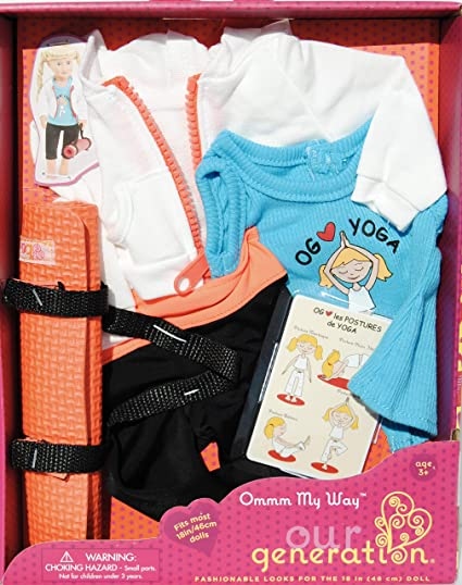 "OMMM MY WAY Our Generation  Yoga Outfit Playset  Fits Most 18/"" Dolls"